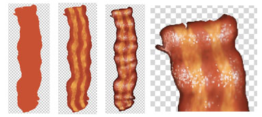Digital Raster Bacon Illustration