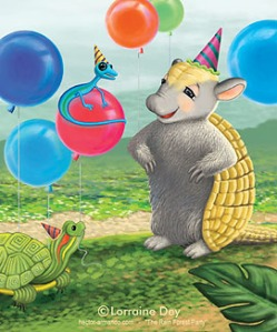 "Hector Armando the Armadillo - ""The Rain Forest Party"" by Lorraine Dey"